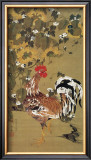 Japanese Rooster under the Grape Tree Framed Giclee Print by Jyakuchu Ito