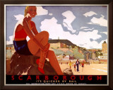 Scarborough, It's Quicker by Rail Framed Giclee Print by Andrew Johnson
