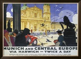 LNER, Munich and Central Europe, Lner, 1929 Framed Giclee Print by Ludwig Hohlwein