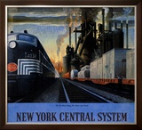 New York Central System, Along the Water Level Route Framed Giclee Print by Leslie Ragan