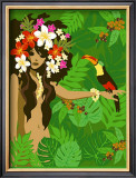 Girl in Tropical Paradise with Flowers Posters by Noriko Sakura