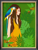 Girl in Tropical Paradise with Blue Bird Art by Noriko Sakura