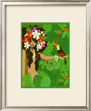 Girl in Tropical Paradise with Flowers Prints by Noriko Sakura