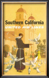United Airlines: Southern California, Franciscan Monk and Spanish Mission Posters by Stan Galli