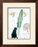 Black Cat and Strelitzia Print by Elizabeth Blackadder