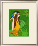 Girl in Tropical Paradise with Blue Bird Poster by Noriko Sakura