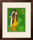 Girl in Tropical Paradise with Blue Bird Prints by Noriko Sakura