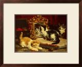 Kittens, 1893 Art by Charles Van Den Eycken