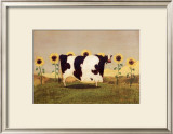 Cow With Sunflowers Print by Thomas LaDuke