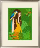 Girl in Tropical Paradise with Blue Bird Print by Noriko Sakura