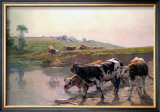 Pasture Cattle at Watering Hole Art by Vaclav Brozik