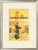 United Airlines: Southern California, Franciscan Monk and Spanish Mission Print by Stan Galli