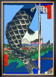 Carp Streamers at Suidobashi-Surugadai Framed Giclee Print by Ando Hiroshige