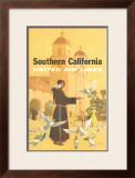 United Airlines: Southern California, Franciscan Monk and Spanish Mission Framed Giclee Print by Stan Galli