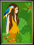 Girl in Tropical Paradise with Blue Bird Posters by Noriko Sakura