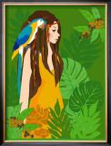 Girl in Tropical Paradise with Blue Bird Posters by Noriko Sakura
