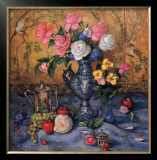 Roses with Blue Vase Print by Francie Botke