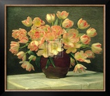 Tulips in a Vase on a Draped Table Posters by Peter Johan Schou