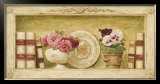 Potted Flowers with Plates and Books I Art by Eric Barjot
