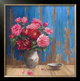 Aged Wood and Roses Prints by Karin Valk