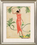 Lady with Red Dress Framed Giclee Print by  Gill