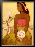 Hawaiian Woman with Flowers Framed Giclee Print by John Kelly