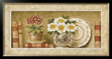 Potted Flowers with Plates and Books III Prints by Eric Barjot