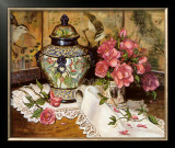 Roses with Temple Jar Art by Francie Botke