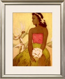 Hawaiian Woman with Flowers Framed Giclee Print by John Kelly
