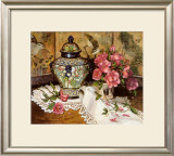 Roses with Temple Jar Print by Francie Botke