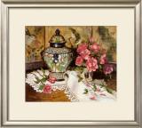 Roses with Temple Jar Print by Francie Botke