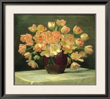 Tulips in a Vase on a Draped Table Art by Peter Johan Schou