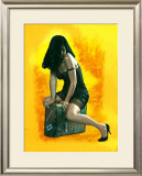 Pin-Up Girl: Suitcase Framed Giclee Print by Richie Fahey