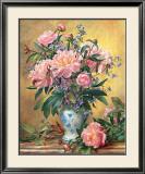 Vase of Peonies and Canterbury Bells Prints by Albert Williams
