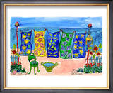 Beach Laundry Poster by Deborah Cavenaugh