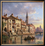 Riverside Village I Art by Charles Kuwasseg