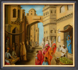 Bazaar at Midday Prints by Sukhpal Grewal
