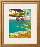 Biplane Over the Coastline Framed Giclee Print by Lucille Webster Holling