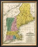 Map of the New England or Eastern States, c.1839 Framed Giclee Print by Samuel Augustus Mitchell
