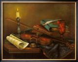 Stilleben mit Geige Print by Elisabeth Paetz-Kalich