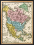 Map of North America, c.1839 Framed Giclee Print by Samuel Augustus Mitchell