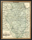 Official Railroad Map of the State of Illinois, c.1876 Framed Giclee Print by Warner &amp; Beers 