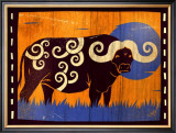 Woodblock Buffalo Print by Benjamin Bay