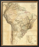 South America, c.1814 Framed Giclee Print by Aaron Arrowsmith