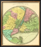Map of the Country Twenty Five Miles Round the City of New York, c.1848 Framed Giclee Print by Jeremiah Greenleaf