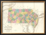 Map of New Jersey and Pennsylvania, c.1839 Framed Giclee Print by David H. Burr