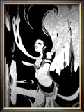 Japanese Kiri-e: Maiden Who Offers the Invocation of Rain Framed Giclee Print by Kyo Nakayama