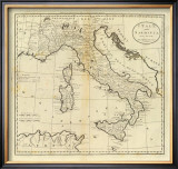 Italy and Sardinia, c.1796 Framed Giclee Print by Mathew Carey