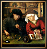 Money Changer with Wife Framed Giclee Print by Quentin Metsys