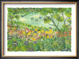 Smell of Wind, Green Meadow Framed Giclee Print by Miyuki Hasekura